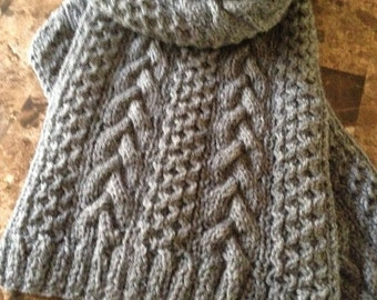 Beautiful hand knitted scarf in Oxford grey wool yarn, cable knit, mens scarf, hand knitted scarf for men
