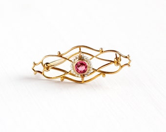 Sale - Antique Art Deco 10k Yellow Gold Simulated Pink Sapphire & Seed Pearl Brooch Pin - Vintage 1920s Glass Stone Filigree Fine Jewelry