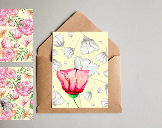 Notecards Peony Floral 3 Pack