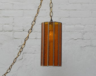 amber stained glass cylinder swag lamps two available