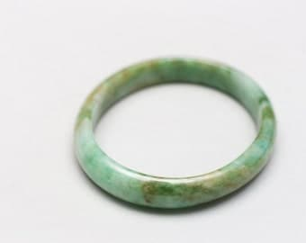 55mm Oval Mixed Green Jadeite Bangle