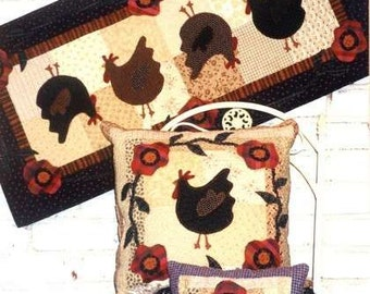 Chickens in the Garden - Table Runner and Pillow Pattern