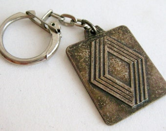 Vintage 50s Renault French Car Auto Dealership Promo Sales Advertising Keychain Fob