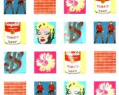 Retro ANDY WARHOL Shower Curtain POP Art Collage Marilyn Monroe Campbells Soup for Bathroom or Upcycle Decorate with it