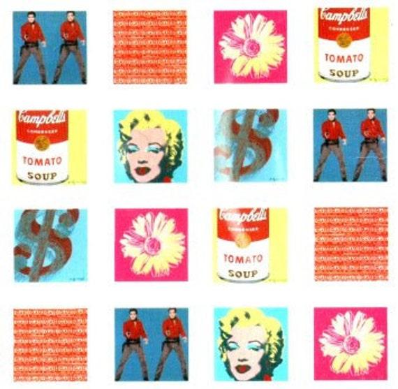 Retro ANDY WARHOL Shower Curtain POP Art Collage Marilyn