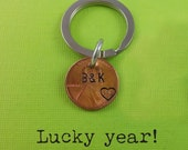 Lucky Year Keychain - Lucky Penny - Personalized Keychain - Wedding date - Lucky Year - Anniversary Keychain - Husband / Wife Gift -