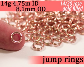 14g 4.75mm ID 8.0mm OD rose gold filled jump rings -- rose goldfill 14g4.75 jumprings 14k pink goldfilled