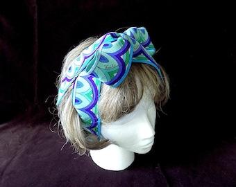 Emilio PUCCI Geometric Print Silk Belt/Hair Tie/Wrap 1960s