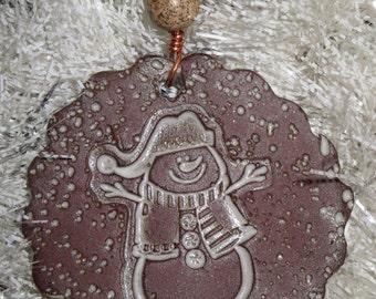 Handmade Ceramic Ornament - Snowman