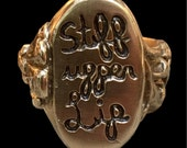 Stiff Upper Lip Signet Ring in Bronze