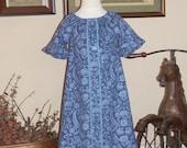 Periwinkle Corduroy Peasant Dress Size 5-6 OOAK