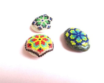 Terrarium, Fairy Garden, Glass Beaded Stepping Stones, Set of Three, Huichol Design Inspired