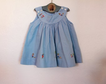 Vintage Baby Dress Blue Ethnic Embroidery