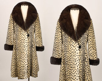 vintage 1960s PRINCESS coat • faux leopard spotted cat with genuine mink trim