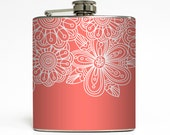 Custom Flask Floral Flower Pretty Custom Color 21st Birthday Women Birthday Bridesmaid Gifts Stainless Steel 6 oz Liquor Hip Flask LC-1420