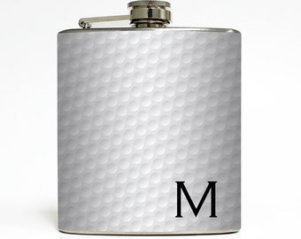 Golf Ball Whiskey Flask Golf Guys Birthday Liquid Courage Usher Best Man Groomsmen Gifts- Stainless Steel 6 oz Liquor Hip Flask LC-1605