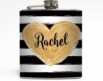 Custom Flask Personalized Rugby Stripe Gold Name Monogram Custom 21st Birthday Women Gifts Stainless Steel 6 oz Liquor Hip Flask LC-1571