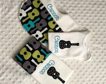 Baby Boy Personalized 3 Piece Gift Set  - Bib, Bodysuit, Burp Cloth- Guitar Theme
