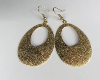 Shiny Sand Textured Teardrop Earrings, Brass Earrings, Long Earrings