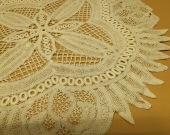 Antique Handmade Lace Centerpiece Doily Tablecloth Runner Tape Lace