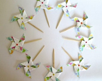 Cupcake Toppers Paper Pinwheels Party Decorations Baby Shower Favors 1st Birthday Decoration Cake Topper Mini Pinwheels Birthday Favors