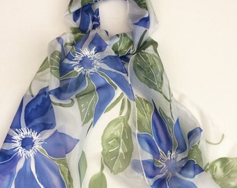 Blue Clematis hand painted silk scarf.  Clematis silk scarf.  Hand painted silk scarf