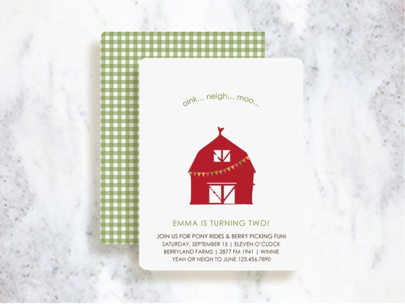 Big Red Barn Invitations | Birthday Party | Baby Shower | Choose Your Colors