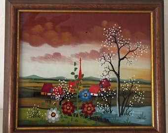 Reverse Glass Oil Painting Signed/ Framed By Gatormom13