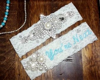 ivory Wedding Garter set  , stretch lace garter, crystal, rhinestone, pearl garter, rhinestone crystal garter set, you're next garter