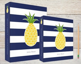 3-Ring Binder Pineapple Navy Stripes