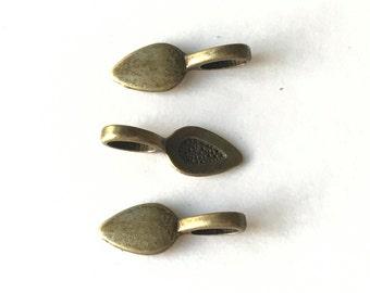 100 Bronze Spoon Bails Jewelry Making Pendant Glue On Bails