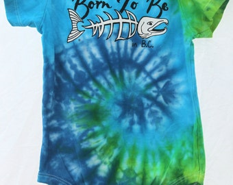 """18 month Blue and Green Hand Tie-Dyed infant """"Born To Be Wild"""" onesie"""