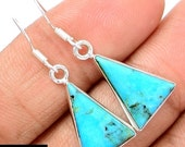 """READY FOR SPRING Sale: Ashira Tiny Drop Dangle Gemstone Earrings Trendy Unique, Sterling Silver, Sleeping Beauty Turquoise 1.25"""""""