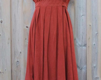 DRESS - faux suede - RUST - by Terri JUNIORS California - size S