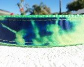 """Dog Collar Royal Tie Dye 1"""" width adjustable collar in Side Release buckle OR Martingale style collar"""