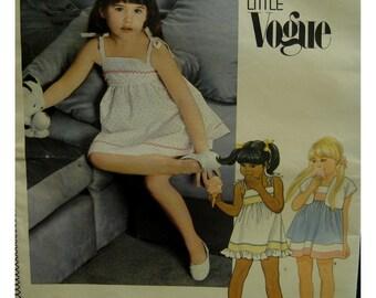 "Girls Shoestring Strap Sundress Pattern, High Waist, Lined Bodice, Band Variations at Hem, Bolero, Little Vogue 2724 - Size 3 Chest 22"" 56cm"