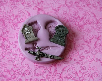 RIP Tombstone Silicone Mold Halloween Skull Sword Crossbones Fondant Clay Resin Molds