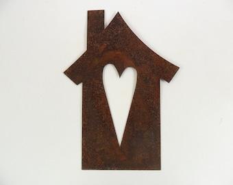"8 - Bird House Rusty Tin Heart Cut Out 5"" H"