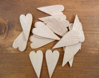 "Wood Hearts Primitive 2"" H x 1"" W x 3/16"" Shapes Cutouts - 20 Pieces"