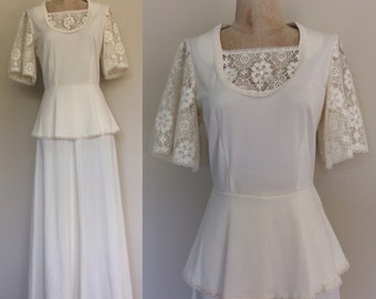 """1970's Lace & Polyester Cream Maxi Dress Size Small Medium 27"""" 28"""" Waist Lace Flutter Sleeves by Maeberry Vintage"""