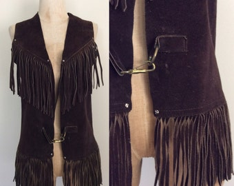 1970's Chocolate Brown Fringe Vest Hippie Western Festival Vintage Vest Size Small Medium by Maeberry Vintage