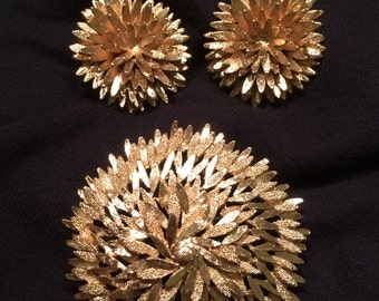 Vintage Monet Earrings and Brooch Set-1960's Monet Jewelry