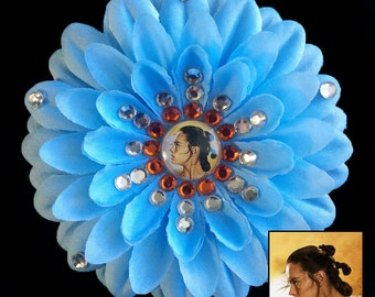 Rey Star Wars The Force Awakens Blue Penny Blossom Rhinestone Flower Barrette