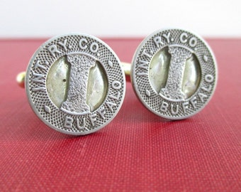 BUFFALO, NY Railroad Token Cuff Links - Silver, Vintage Repurposed Coins