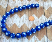15mm Blue with White Star Gumball Beads Strand Fourth of July Jewelry Supplies