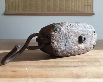 Vintage Industrial Pulley - Rustic Handmade Block