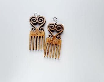 SALE.Ready to Ship//Sankofa Duafe Adinkra wood Afro comb earrings