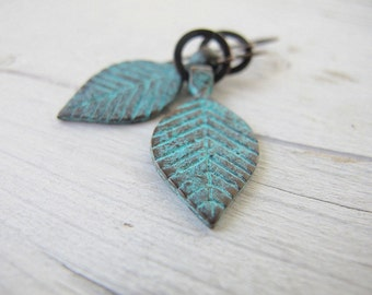 Rustic Bohemian Leaves Earrings, Blue/ Green Patina Leaf Dangles, Boho Chic Festival Fashion , Mykonos Copper Earrings