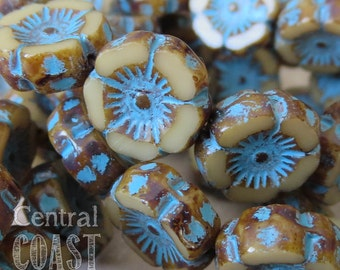 Czech Glass Opaque Beige Flower Beads - 12mm x 5mm (6) Chunky Daisy Posey Turquoise Blue Picasso - Bohemian Gypsy  - Central Coast Charms