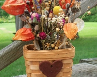 Woodchip Basket with Beautiful Bouquet of Dried Flowers Chinese Lanterns Gomphrena Lavender Pussy Willows